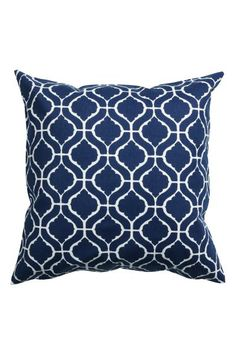 Patterned cushion cover: Cushion cover in patterned cotton twill with a concealed zip.