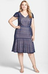 Adrianna Papell Flutter Sleeve Lace Mermaid Dress (Plus Size)