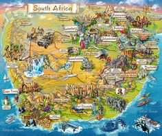 Illustrated map of South Africa – Map Collection South Africa Map, South Afrika, Cape Town South Africa, Out Of Africa, South Africa Honeymoon, South Africa Safari, Thinking Day, Africa Travel, Places To See