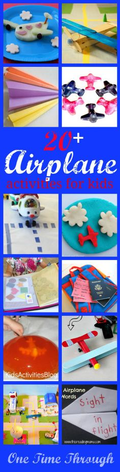 Find ideas for airplane crafts, airplane sensory play and pretend play, airplane travelling tips and activities and airplane party ideas! {One Time Through} Airplane Activities, Airplane Kids, Airplane Crafts, Eyfs Activities, Airplane Party, Educational Activities, Activities For Kids, Crafts For Kids, Transportation Theme Preschool