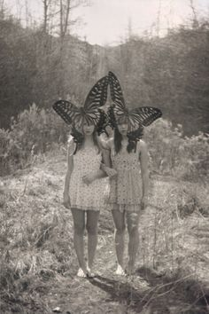 butterflies | black & white  | vintage | photography | cool | mask | friendship | love | fun