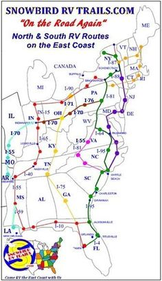 Planning & Mapping the Best East Coast Snowbird RV Routes North and South Camping Hacks, Rv Camping, Outdoor Camping, Camping Holiday, Hiking Tips, East Coast, Trip Planning, Touring, Camping Tricks