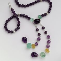 SILVER WITH AMETHYST & FLOURITE – Necklace