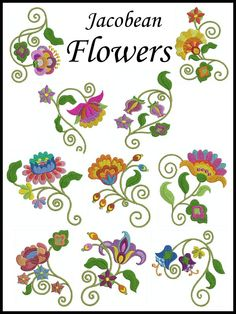 JACO FLOWERS Machine Embroidery design set of 10, 2 SIZES