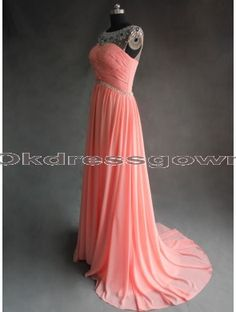 2014 unique prom dress,  long coral prom dress, elegant and fantastic prom dress with beads, gorgeous wedding party dress under 200