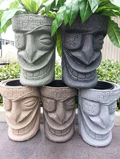 Brand: The Tiki Shop Color: Sand Stone Features: Drop in Pot Technology Weatherproof Lightweight Unbreakable Adds a unique tropical feel to you yard Warranty: Manufacturer warranty for 90 days from date of purchase. Tropical Home Decor, Tropical Houses, Tropical Colors, Tiki Decor, Outdoor Decor, Diy Deco Rangement, Tiki Head, Tiki Statues, Tiki Art