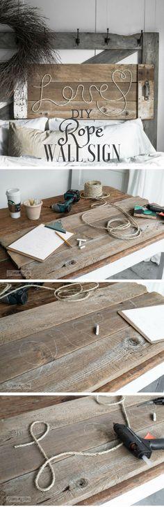 15 DIY Tricks for Home Decor - 11.DIY Rope Sign - Diy & Crafts Ideas Magazine