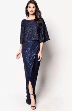 65 Ideas wedding blue dress simple for 2019 Model Dress Kebaya, Kebaya Modern Dress, Modern Batik Dress, Dress Brokat Modern, Dress Brukat, Lace Dress, Simple Dresses, Pretty Dresses, Gala Dresses