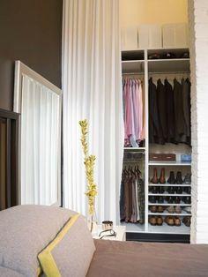 Organization Inspiration: 10 Neat and Beautiful Closets Closet Curtains, Closet Bedroom, Closet Space, Closet Doors, Tall Curtains, Ceiling Curtains, Mirror Bedroom, Bathroom Closet, Bedroom Apartment
