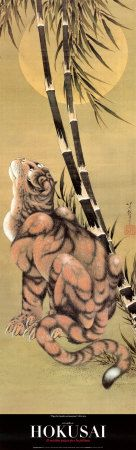 Tiger Under Bamboo and Full Moon. Nineteenth c. Japanese Tiger, Japanese Plum, Japanese Love, Asian Tigers, Tiger Painting, Tiger Design, Katsushika Hokusai, Art Japonais, Poster Prints