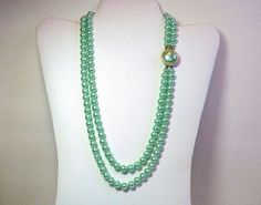 2 Strand Necklace with Mint Green Pearl by TheVintageBlingBox, $27.00