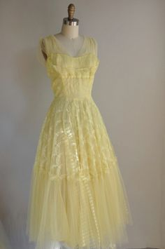 50s buttercup yellow tulle lace prom dress