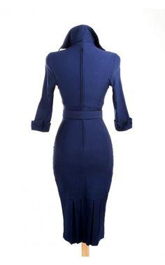 Pinup Couture - Lorelei Dress in Navy Bengaline   Pinup Girl Clothing