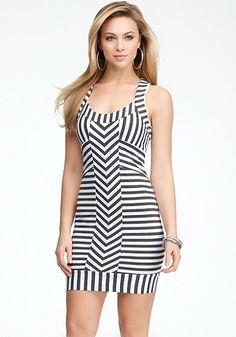 bebe   Striped Racerback Tank Dress