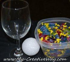 Wine Glass Candy Bouquet   Tutorials         I've showed you how to make a Candy Bouquet  in a party cup, but several of you have asked how...