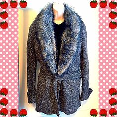 """JUST INExpress long faux fur cardigan duster Gorgeous Express long faux fur gray cardigan/duster. Silver tone buckle closure in front, detachable waist tie & detachable (button) faux fur collar. So stylish & easy to dress up or down! Worn twice & in flawless condition. Measures approx 33"""" long, 22"""" sleeves, & 20"""" across chest. Size large, but could fit small-large, depending on fir preference. Please ask any questions. Bundle to save 10%!NO TRADESI love reasonable offers! Please make one…"""