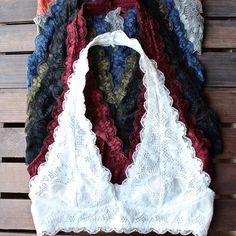 halter lace bralette (7 colors) - shophearts - 1