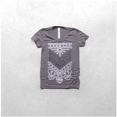 The Nomad - tshirt for women - tribal chest plate screenprint in white and gray - heather brown womens t shirt - gift for her on Etsy, $26.00