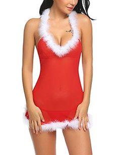 73eb8313cf Women Babydoll Halter Lingerie Red Christmas Chemises Set