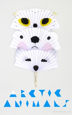 Making paper fans is a breeze. Enjoy these arctic animal fans and daydream about cooler climes!