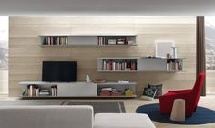 Chic Wooden Wall Units For Living Room With Wooden Floating Shelf ...