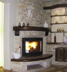 More Standout Corner Fireplace Designs . . . Bricks & Stones!