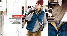Lands' End Canvas Men's Donegal Hooded Popover ($99.50); Down Vest ($69.50); Vintage Shaker Knit Hat ($29.50).