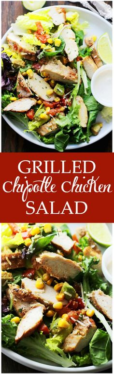 Grilled Chipotle Chicken Salad - Oven grilled chicken seasoned with chipotle powder and tossed with all your favorite southwestern fixings.