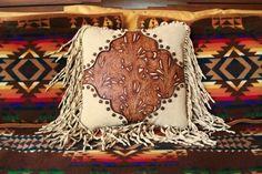 western art pillow. vintage style. handtooled leather. stargazermercantile, $325.00