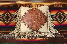 western art pillow. vintage style. handtooled leather. stargazermercantile, $325.00