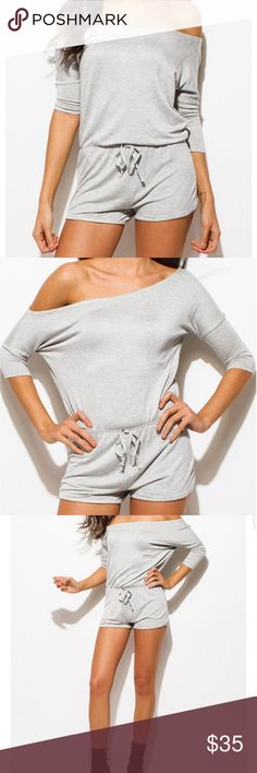 "🆕️🌟H.Grey Romper🌟 Turn heads in this piece! 92% Rayon 3% Polyester  5% Spandex Model is 5'9"" Chest 34 B, waist 25.5 inches , Hips 36"" Model is wearing exact product in size small New without tags  Price Firm unless bundled with another item Pants Jumpsuits & Rompers"