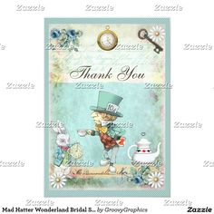 Mad Hatter Wonderland Bridal Shower Thank You Card