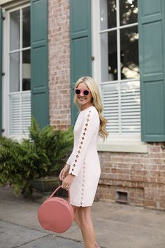 BLUSHING IN SAVANNAH // SCALLOP DRESS & PINK FLATS