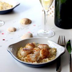 Saint-Jacques au Champagne sur fondue de poireau