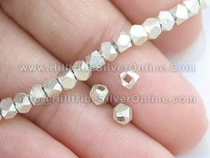 Thai Karen Hill Tribe Silver Beads    Quantity: 135 beads  Size(approx.): 3x3mm  Weight(approx.): 22 grams    $55.61