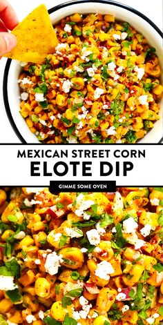 LOVE this Elote Dip recipe! It's quick and easy to make in about 15 minutes, naturally gluten-free, and full of all of those classic Mexican street corn ingredients we all love! And it can double as a salsa or topping for your tacos. Easy Appetizer Recipes, Appetizer Dips, Yummy Appetizers, Dinner Recipes, Mexican Appetizers Easy, Easy Dip Recipes, Easy Vegetarian Appetizers, Chip Dip Recipes, Summer Vegetarian Recipes
