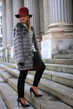 leather pants - Zara / blouse - Forever 21 / coat - New Yorker / hat, clutch - C&A / gloves - Roeckl / shoes - Primark / earrings - Dyrberg Kern Winter Hats, Winter Jackets, Spring Colors, Primark, Leather Pants, Gloves, Forever 21, Zara, Black And White