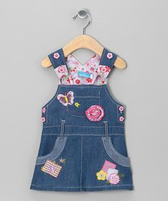 Take a look at this Denim Butterfly Overall Dress - Infant, Toddler & Girls by Sweet Bluette on #zulily today!