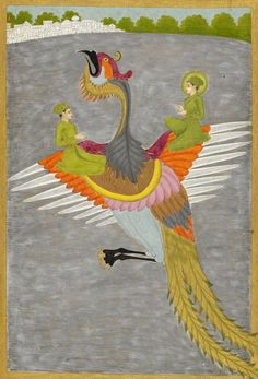 Prince Gauhar and his companion rescued by the simurgh Artist: Govardhan II Source: British Library