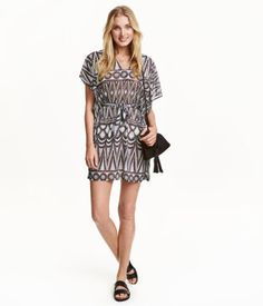 Check this out! Straight-cut V-neck dress in airy jersey with cap sleeves. Removable tie belt at waist. - Visit hm.com to see more.
