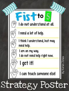 FREE fist to 5 poster. Quick and easy way to check students' level of understanding.