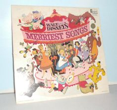 Vintage Record Album Disney's Merriest Songs by OrionsVintageJoy The Last Song, Song One, Ed Wynn, Louis Prima, Big Bad Wolf, Three Little Pigs, Great Albums, Vintage Records, Lady And The Tramp