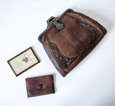 1920s vintage purse / tooled leather purse / by PoppycockVintage