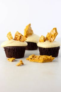 Vegan Chocolate cupcakes with caramel frosting and hokey pokey