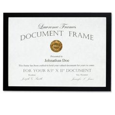 Lawrence Frames 8.5x11 Wood Certificate Picture Frame, Black