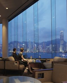 I just like the view out. InterContinental Hong Kong in front of Victoria Harbour…