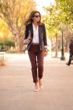 cuffed burgundy & blazer