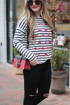 Bisous//Striped Tee, J.Crew, parisian style, fashion blogger Rachel Puccetti Between Two Coasts