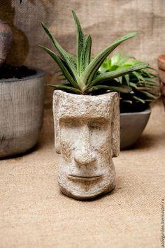 Tall Ornamental Grasses, Sugar Skull Decor, Skull Planter, Dream Catcher Decor, Tiki Statues, Cement Art, Decorative Plaster, Gothic Garden, Concrete Crafts