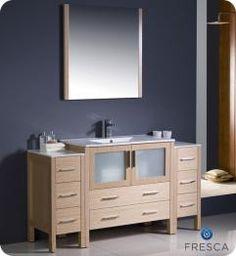 60 Inch Single Sink Bathroom Vanity in Light Oak